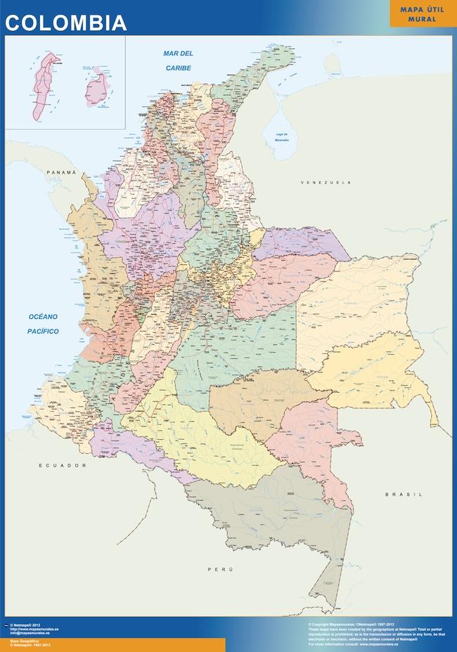 carte murale colombie