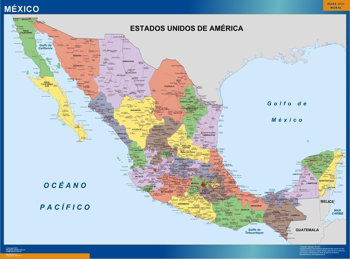 carte murale mexique politique