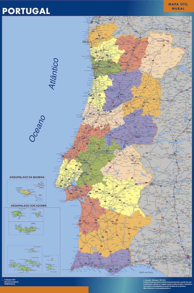 carte murale portugal