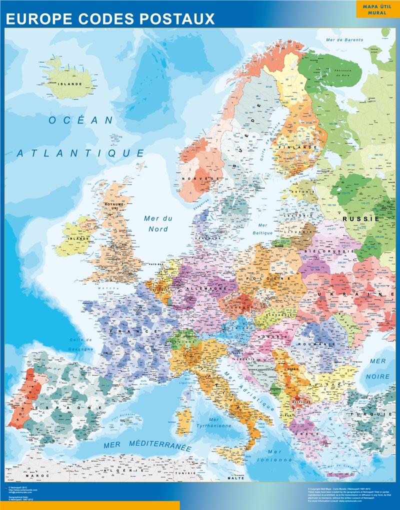 Carte europe codes postaux