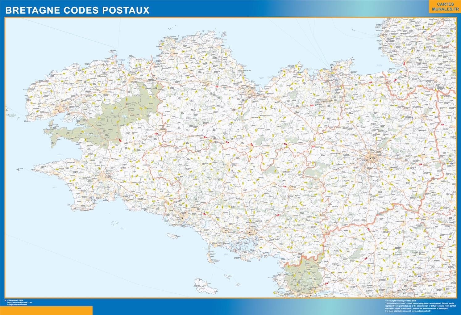 Carte Bretagne codes postaux