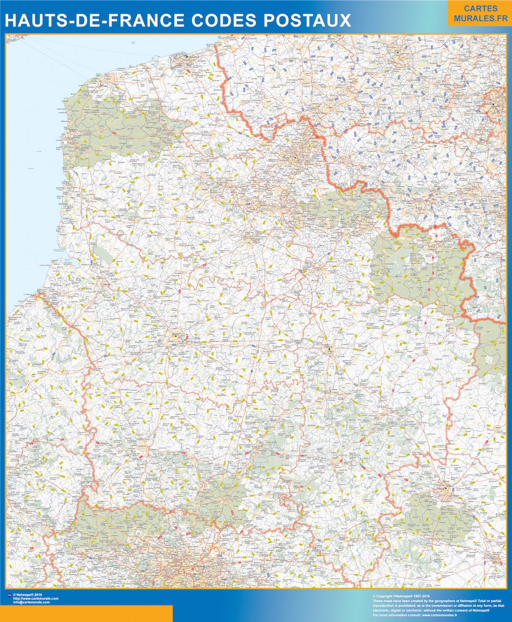 Carte Hauts de France codes postaux