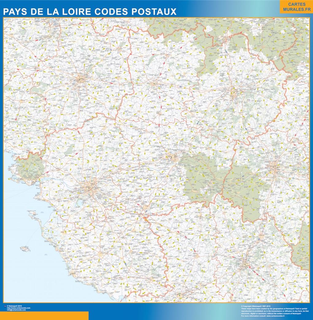Carte Pays de la Loire codes postaux