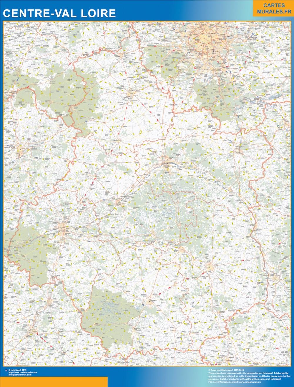 Carte Region Centre Val Loire