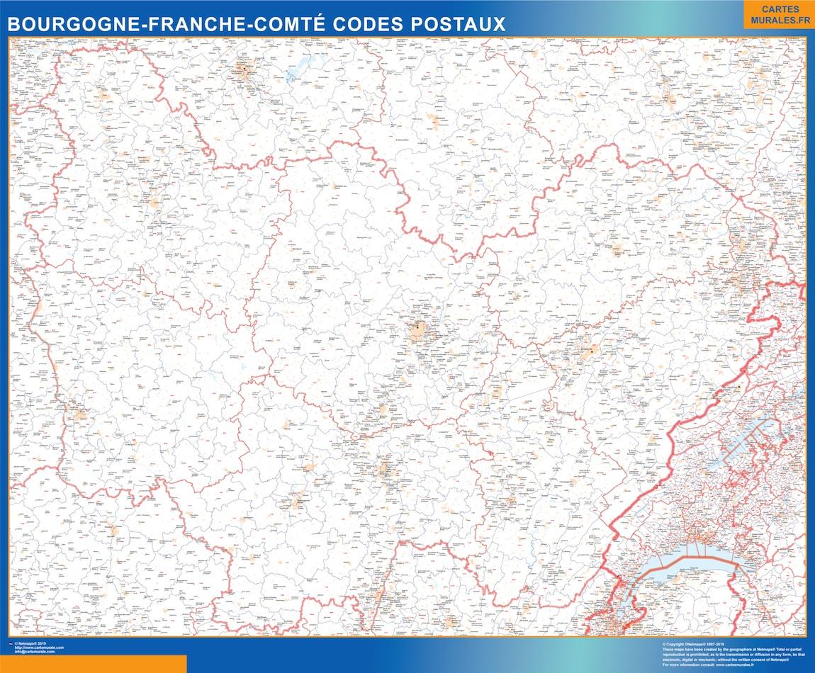 Region Bourgogne Franche Comte codes postaux