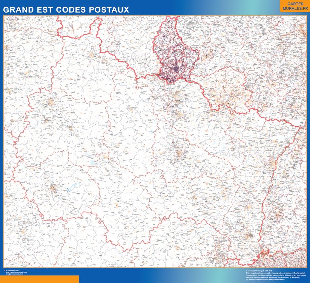 Region Grand Est codes postaux