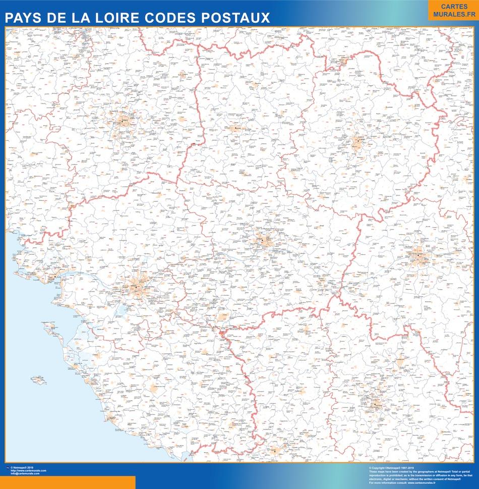 Region Pays de la Loire codes postaux